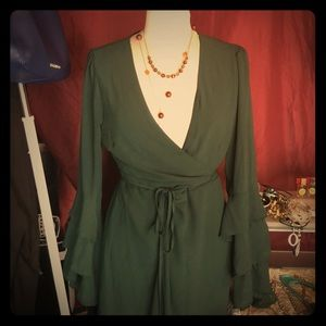NEW Forever 21 Forest Green Wrap Dress
